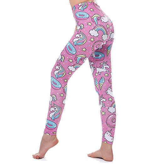 Kyku Unicorn Leggings Women Pink Yoga Fitness Sexy High Waist