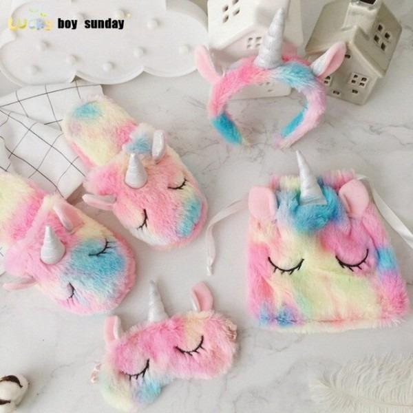 Lucky Boy Sunday Unicorn Slippers Hairband Eyemask Drawstring Bags