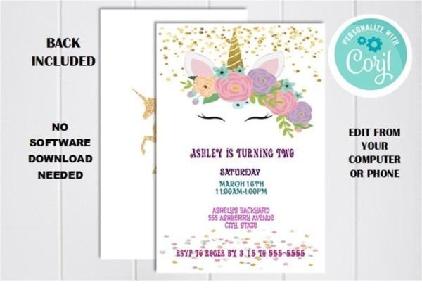 Magical Unicorn Invitation Instant Download Gold Glitter