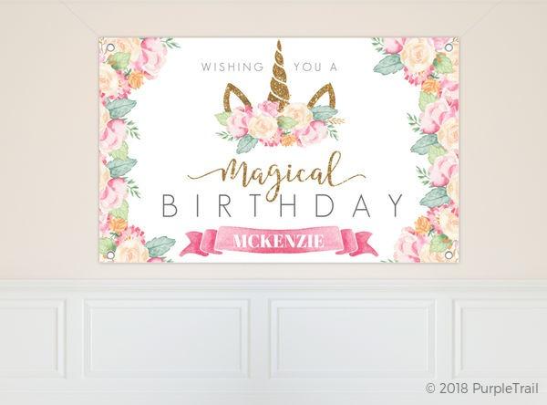 Magical Watercolor Unicorn Birthday Banner