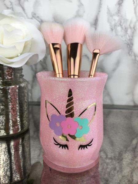 Makeup Brush Holder, Unicorn, Makeup Artist Gift, Makeup Vanity