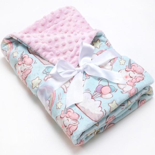Muslinlife Unicorn Minky Dot Kids Blanket Baby Monthly Milestone