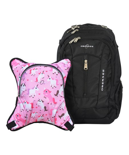Obersee Black Unicorn Bern Diaper Backpack & Detachable Cooler