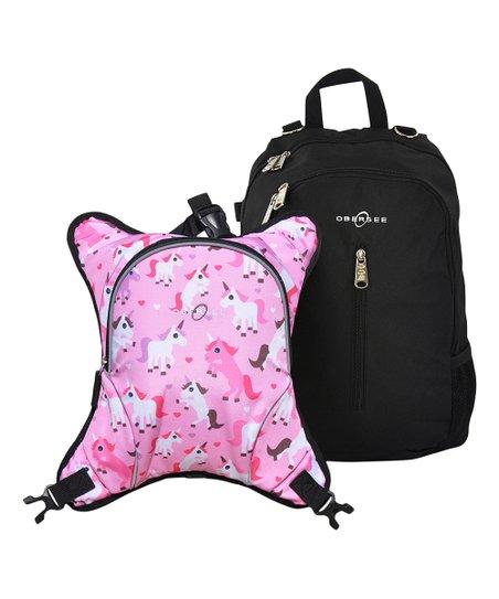 Obersee Black Unicorn Rio Diaper Backpack & Detachable Cooler