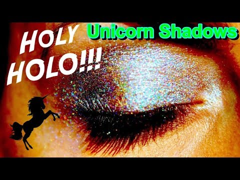 🦄omg!!! Unicorn Shadows Holographic Makeup & Live Swatch