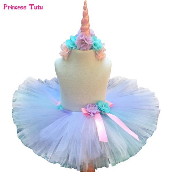 Pastel Rainbow Unicorn Tutu Skirt With Headband Children Skirts