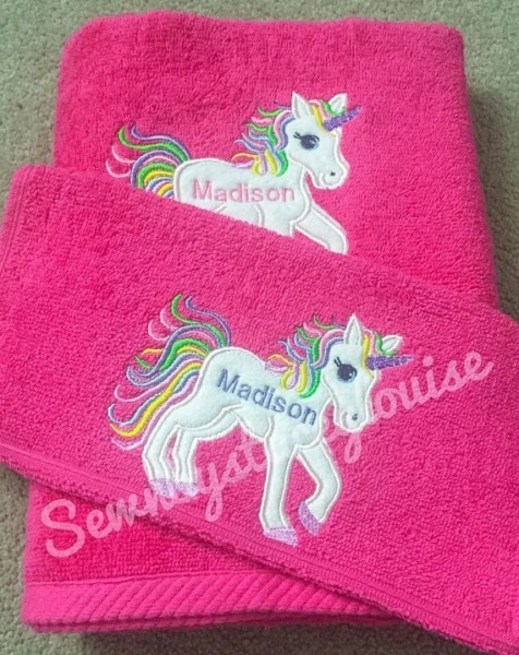 Personalised Unicorn Towel Personalised Childrens Bath Swimming