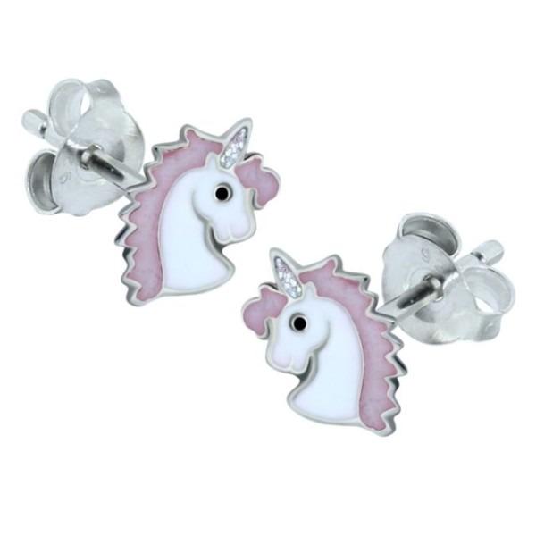 Pink Unicorn Earrings Genuine Sterling Silver Children Kids Pony