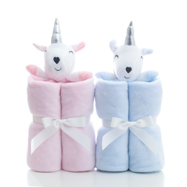 Plush Unicorn Baby Blankets Newborn Flannel Baby Swaddle Stroller