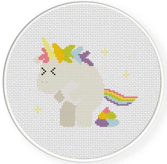 Pooping Unicorn Cross Stitch Pattern – Daily Cross Stitch