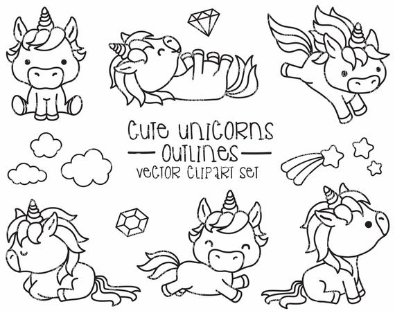 Premium Vector Clipart Kawaii Unicorns Outlines Cute