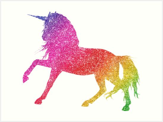 Rainbow Glitter Sparkle Unicorn   Art Print By Colorflowart