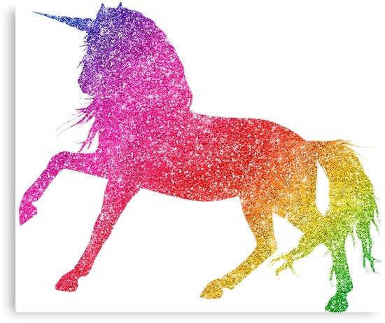 Rainbow Glitter Sparkle Unicorn   Canvas Print By Colorflowart