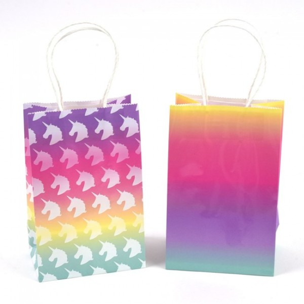 Rainbow Ombre Unicorn Party Favor Gift Bags By Flomo