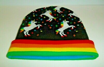Rainbow Unicorn Hat Knit Pink Delux High Quality Mohawk Fl Lined