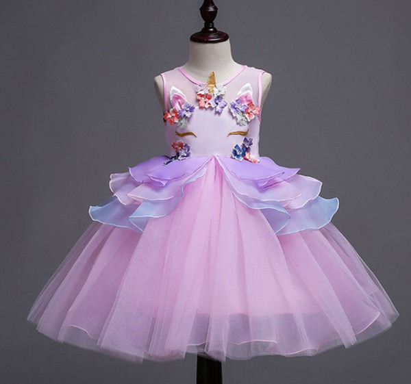 Retail Toddler Girl Summer Dress Baby Girl Unicorn Party Dress