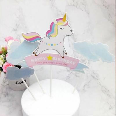 Uk Baby Rainbow Unicorn Cake Topper Happy Birthday Candle Party