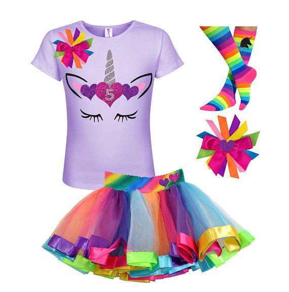 Unicorn 5th Birthday Shirt 5 Silver Horn Rainbow Tutu Skirt
