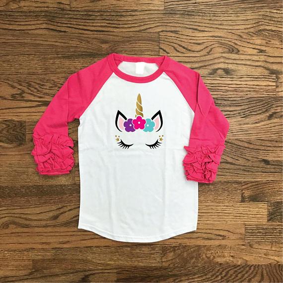 Unicorn Baseball T Shirt Girl, Birthday Shirts, Party Shirts For