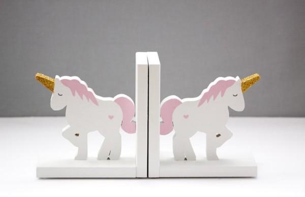 Unicorn Bookends Gold Glitter Kids Pink And White Unicorn
