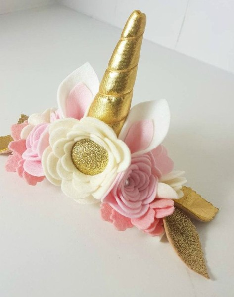 Unicorn Crown Blush   Gold   Unicorn Headband By Shopfeltinbloom