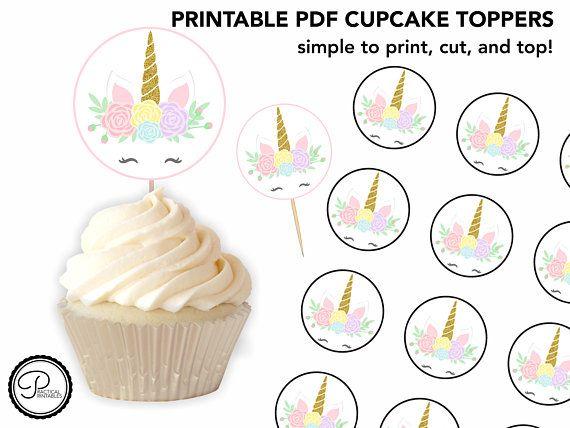 Unicorn Cupcake Topper   Treat Topper  Unicorn Cupcakes