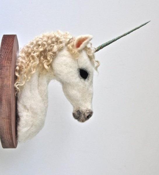 Unicorn Head Wall Mount Felted Faux Taxidermy By Nocik On Etsy