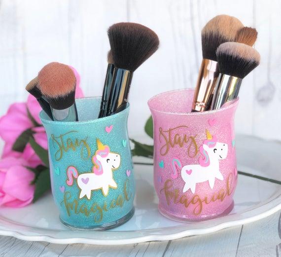 Unicorn Makeup Brush Holder  Glittered Makeup Brush Holder