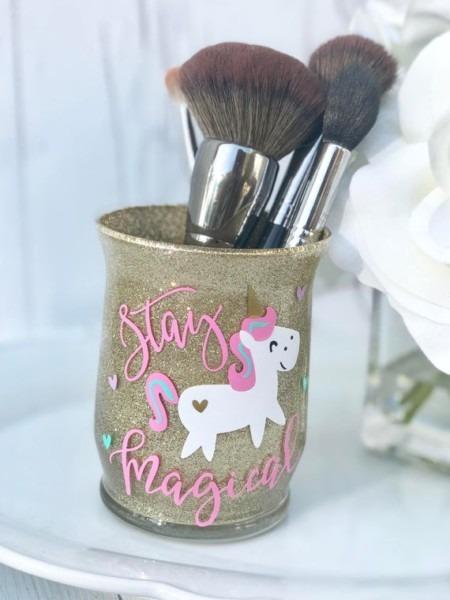 Unicorn Makeup Brush Holder Glittered Brush Holder Custom