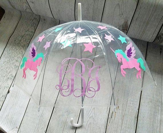 Unicorn Monogram Umbrella, Clear Dome Umbrella, Children's