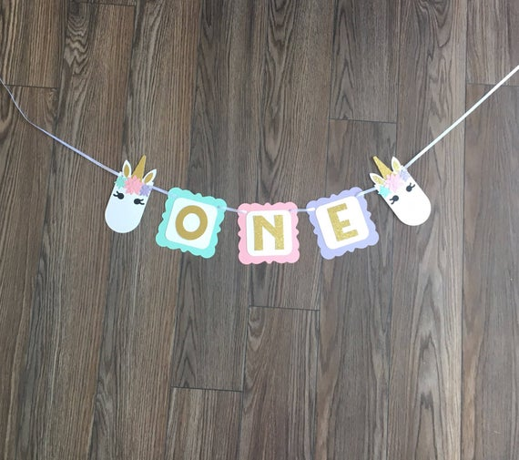 Unicorn One High Chair Banner Unicorn Gold Glitter Party