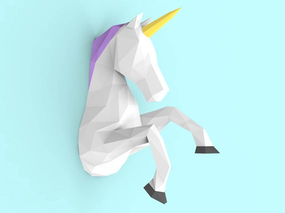 Unicorn Papercraft Pdf Pack 3d Paper Sculpture Template With