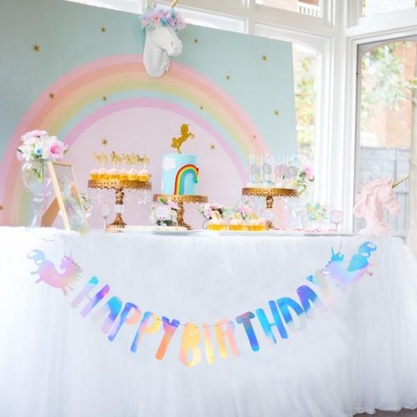 Unicorn Party Decorations 1pc Set Rainbow Shinning Hanging Happy