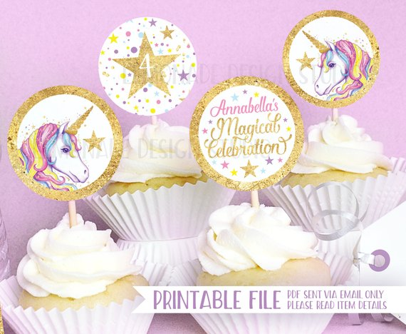 Unicorn Party Printable Cupcake Toppers, Unicorn Party Decorations