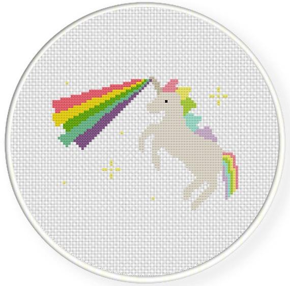 Unicorn Rainbow Laser Cross Stitch Pattern – Daily Cross Stitch