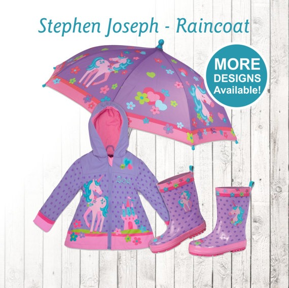 Unicorn Raincoat Personalized Kids Unicorn Theme Rain Gear Unicorn