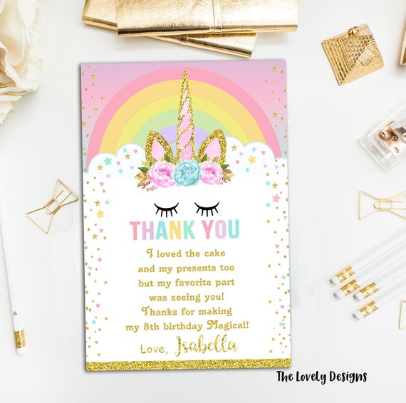 Unicorn Thank You Card, Magical Unicorn Thank You Card, Dreamy