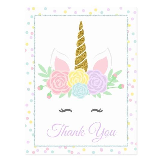 Unicorn Thank You Card Postcards