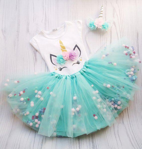 Unicorn Tutu Outfit For 1st Birthday, Mint Unicorn Pom Pom Tutu