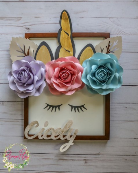 Unicorn Wall Hanging With Personalize Name