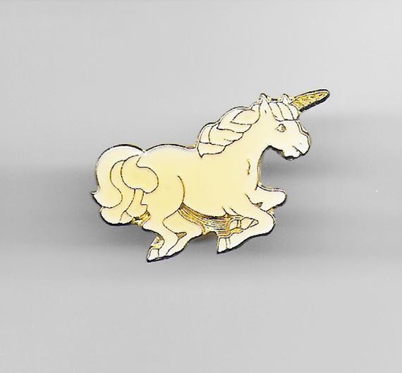 Vintage White Unicorn Enamel Pin Lapel Hat Pinback Kawaii