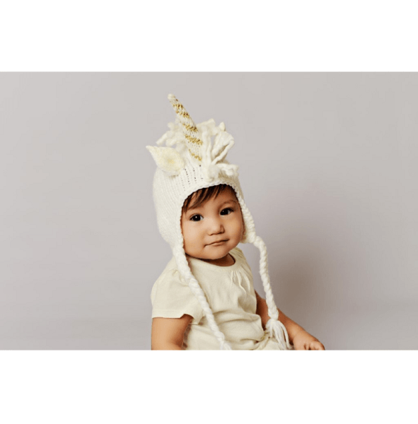 White Unicorn Hat With Gold  Pout Baby And Kids