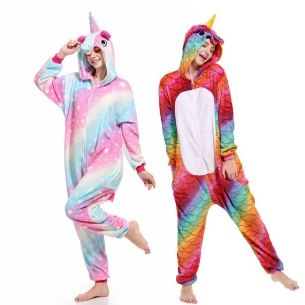 Women Pajama Flannel Panda Unicorn Cartoon Cosplay Adult Onesie