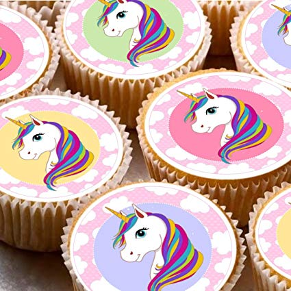 24 Nd4 Unicorn Cake Toppers 4cm On Wafer Rice Paper  Amazon Co Uk