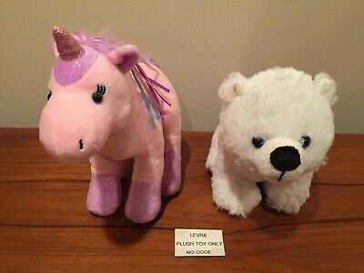 2 Lot Ribbon Unicorn & Polar Cub 8 5  Webkinz~plush Toy Only~no