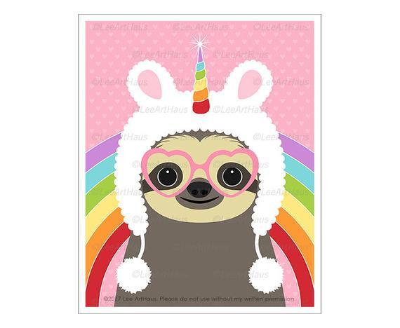 66j Animal Art Prints Sloth Wearing Fuzzy Unicorn Hat Wall