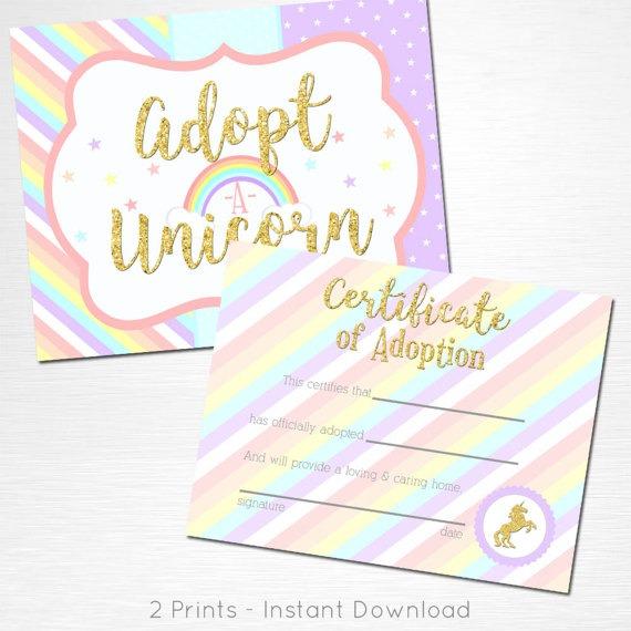 Adopt A Unicorn Certificate Unicorn Rainbow Birthday Party