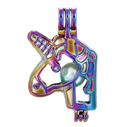 Amazon Com  10pcs Rainbow Color Unicorn Pearl Beads Cage Locket