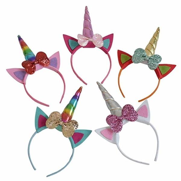 Amazon Com  5pcs Glitter Unicorn Horn Headband, Flower Ears