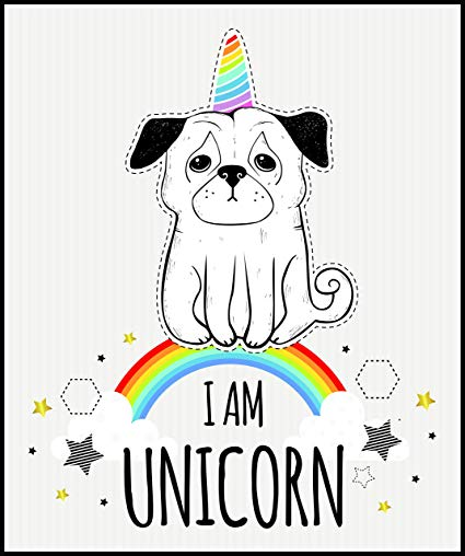 Amazon Com  Cute Sad Puppy Dog With Rainbow Unicorn Horn Cartoon